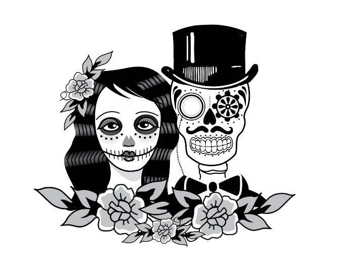Skeleton bride and groom clipart banner Wedding Logo | Branding | Dead bride, Wedding silhouette ... banner