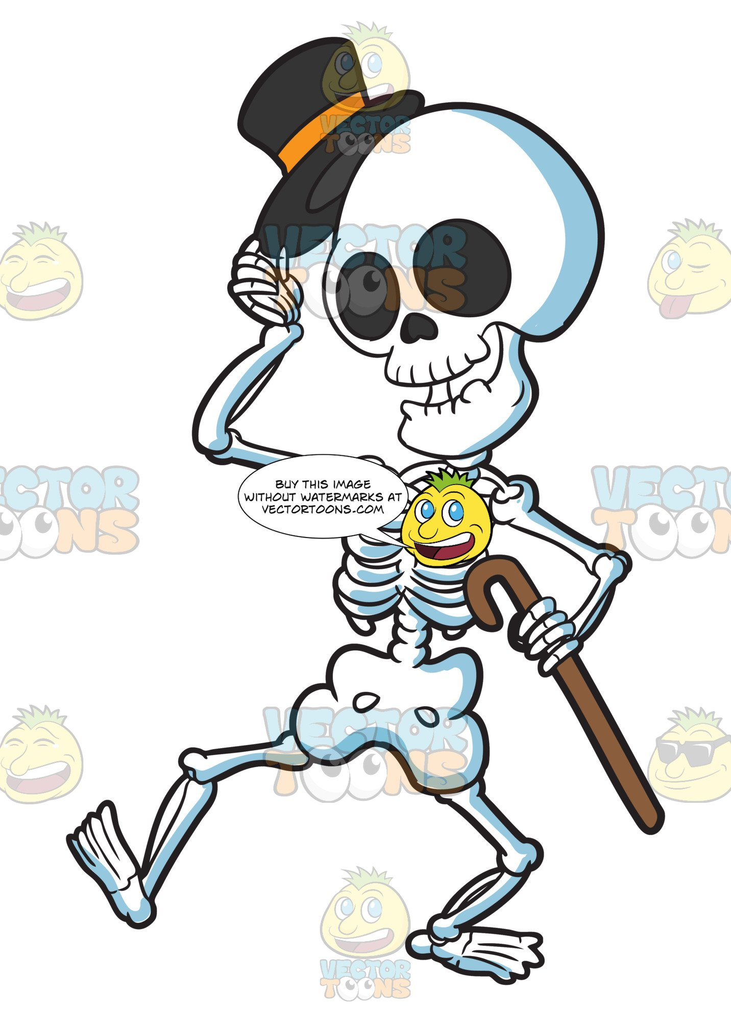 Skeleton holding a cane clipart vector free download A Skeleton Looking Refined And Respectful vector free download