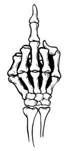 Skeleton middle finger clipart black and white image transparent download Skeleton shows middle finger, vector illustration, white ... image transparent download