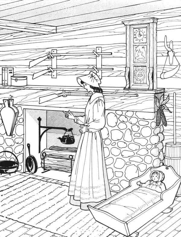 Sketch pioneer bedroom clipart banner transparent Pioneer Day For Kids Coloring Pictures | Pioneers | Coloring ... banner transparent