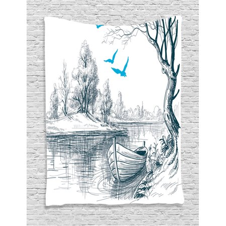 Sketch pioneer bedroom clipart stock Lake House Decor Wall Hanging Tapestry, Boat On Calm River Trees Birds  Twigs Sketch Drawing Clipart Water Minimalistic, Bedroom Living Room Dorm  ... stock