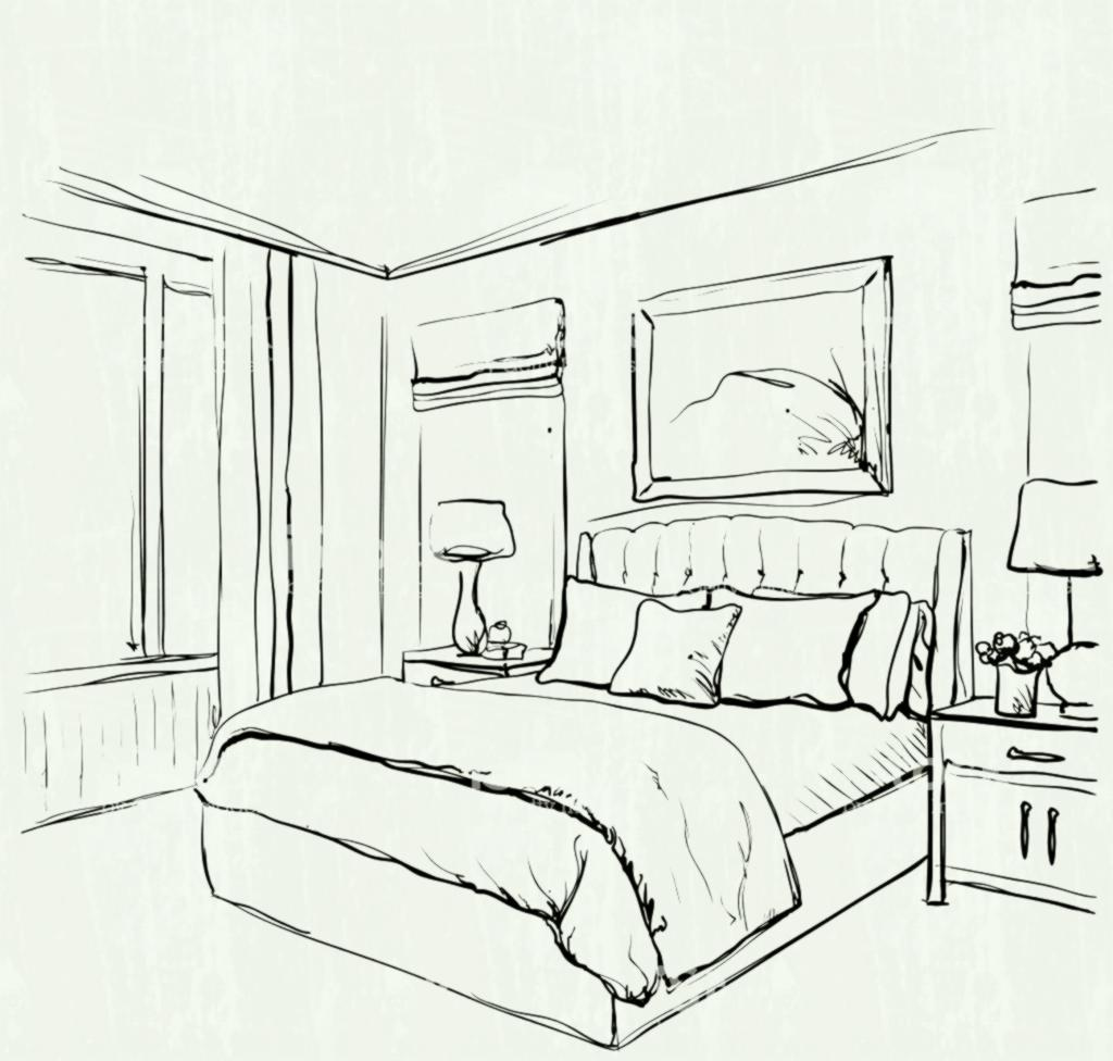 Sketch pioneer bedroom clipart clip art free library Huge Collection of \'Bedroom drawing pencil\'. Download more ... clip art free library
