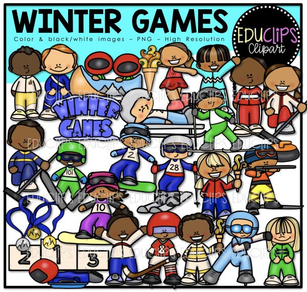 Skiing clipart educlips svg transparent stock Winter Games Clip Art Bundle (Color and B&W) svg transparent stock