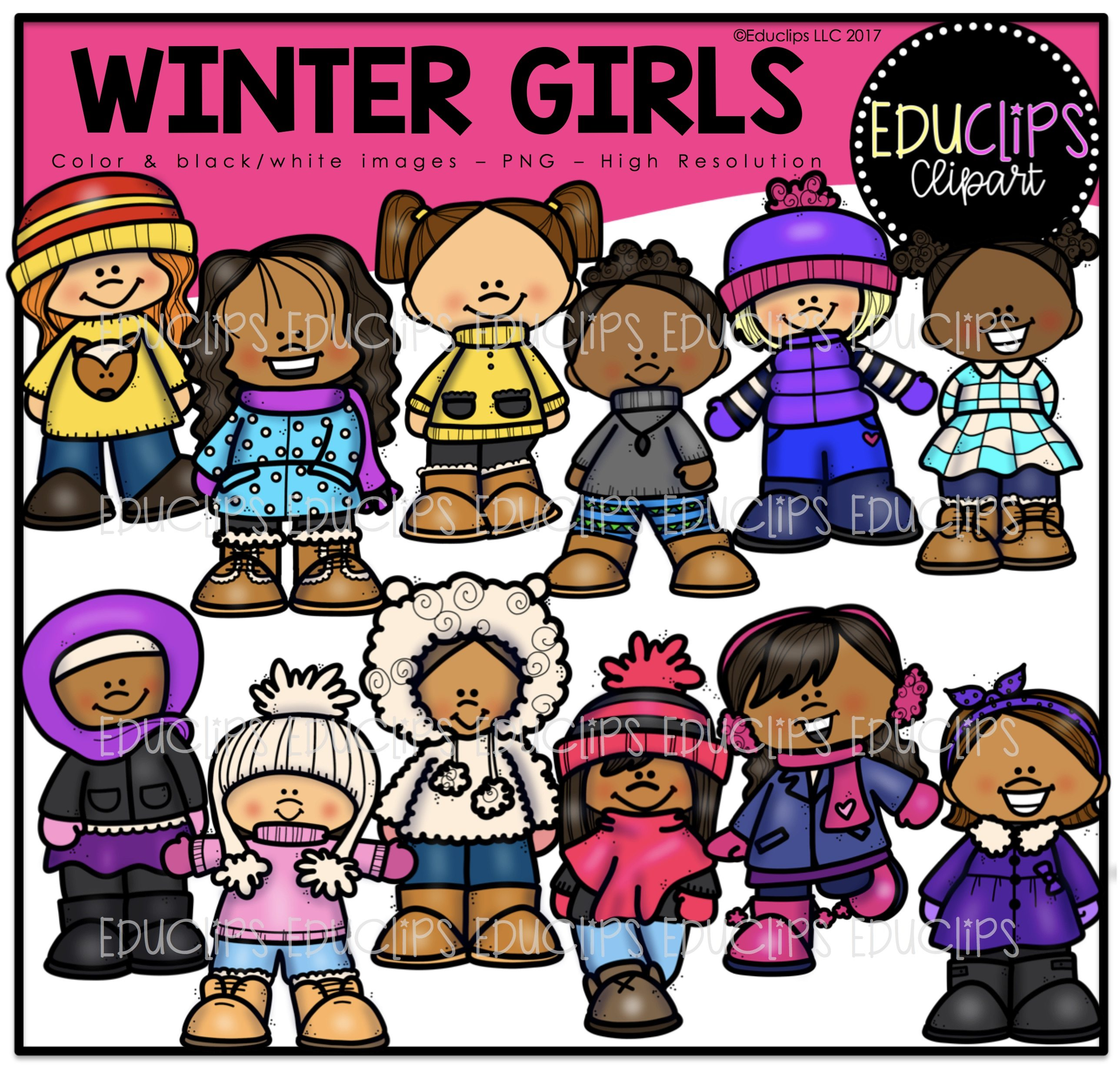Skiing clipart educlips graphic freeuse library Winter Clip Art Mega Bundle (Color and B&W) graphic freeuse library