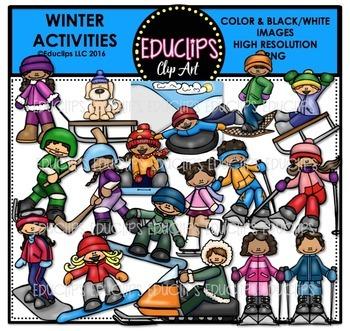 Skiing clipart educlips svg transparent Winter Activities Clip Art Bundle {Educlips Clipart} svg transparent