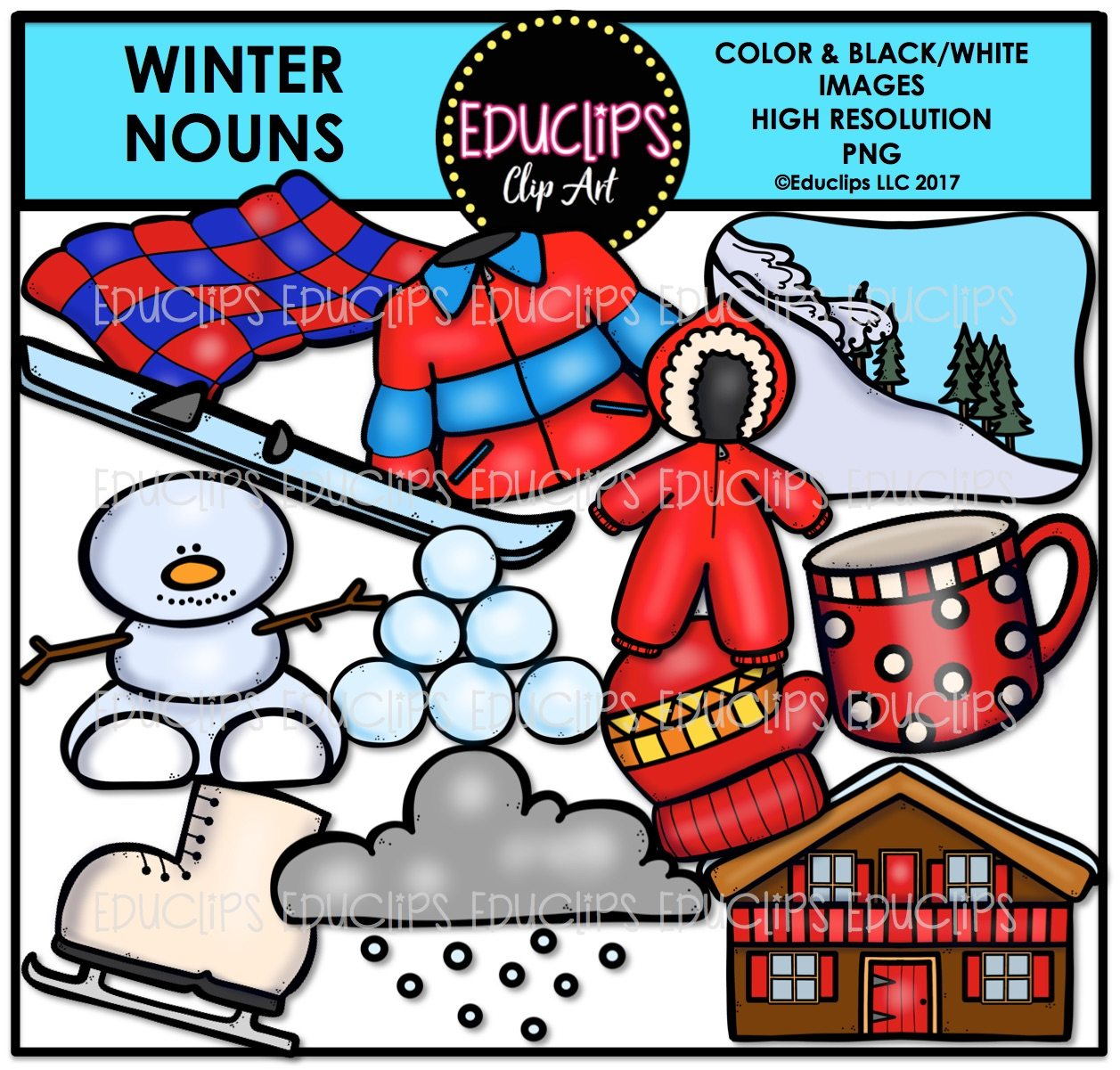 Skiing clipart educlips picture black and white library Winter Nouns Clip Art Bundle (Color and B&W) picture black and white library