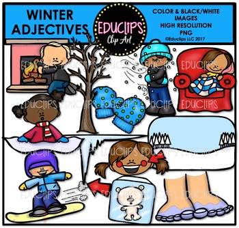 Skiing clipart educlips svg transparent download Winter - Parts Of Speech Clip Art Big Bundle {Educlips Clipart} svg transparent download