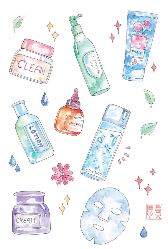Skin care products clipart
