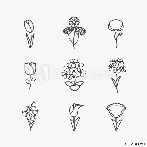 Skinny black line clipart picture download Flowers icons. Vector flower thin black line signs on white ... picture download