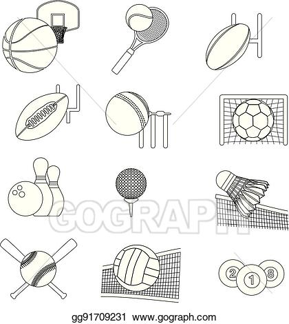 Skinny black line clipart svg download EPS Illustration - Detailed thin line sports graphic icons ... svg download