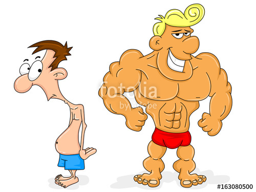 Skinny guy with muscles clipart vector royalty free download Bodybuilder and a Skinny Guy\