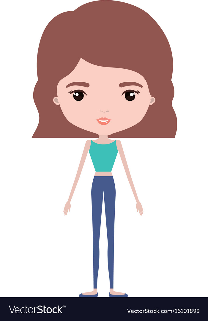 Skinny pretty girl clipart jpg library stock Colorful caricature skinny woman in clothes with vector image jpg library stock