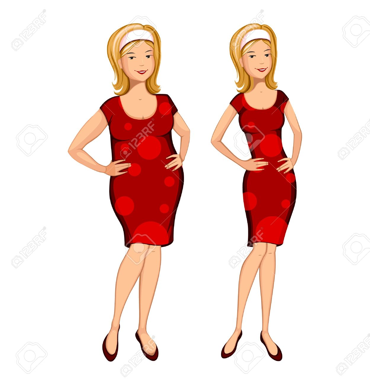 Skinny pretty girl clipart clipart stock Fat Woman And Slim Woman Vector Material, #480073 ... clipart stock