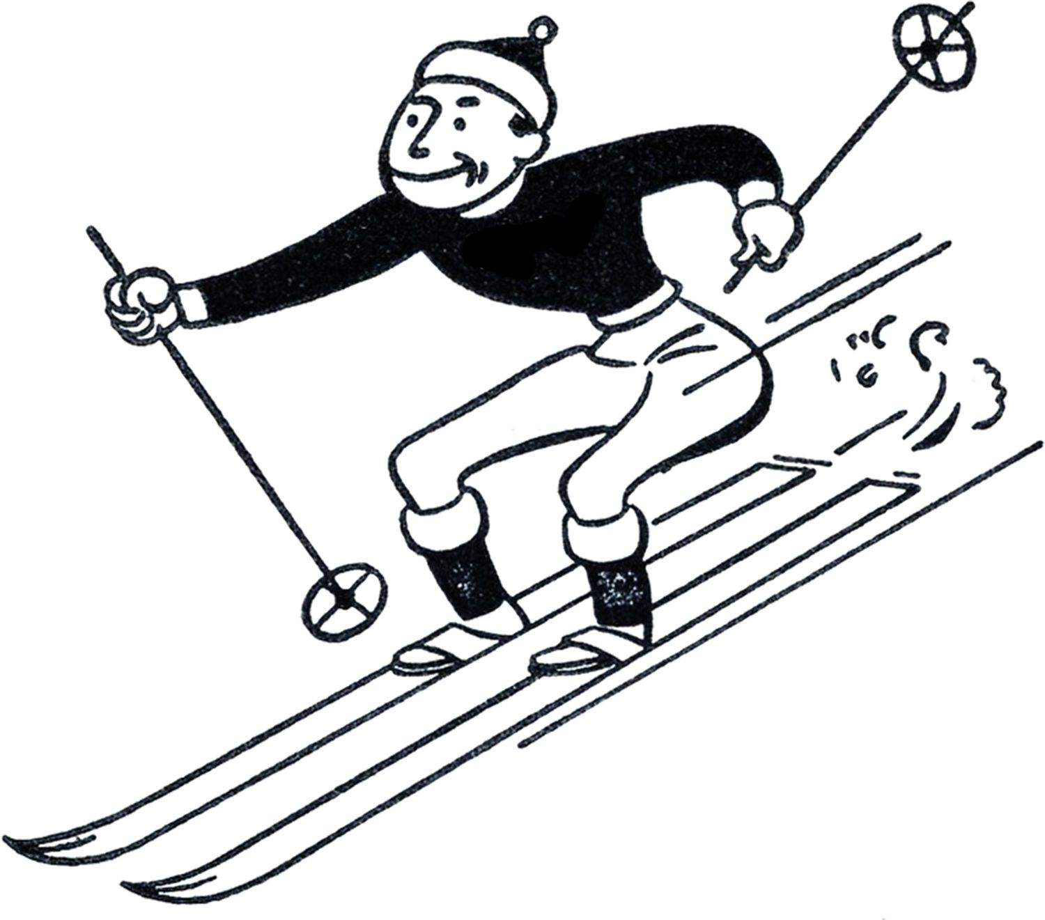 Skking clipart jpg transparent download Funny Retro Skiing Clipart   50s clip art.   Graphics fairy ... jpg transparent download