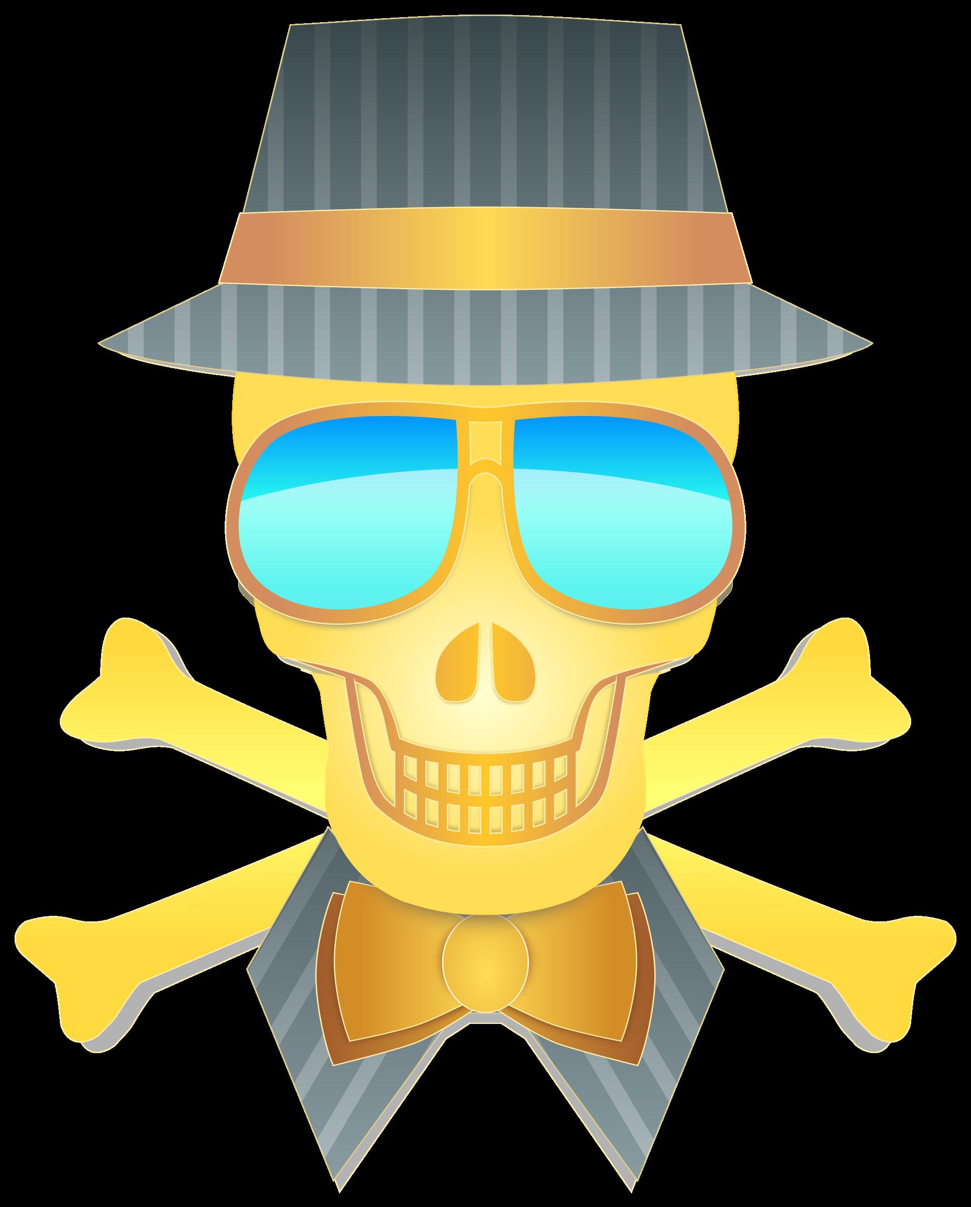 Skull and crossbones with sun glasses clipart svg black and white Clipart - Dapper Skull svg black and white