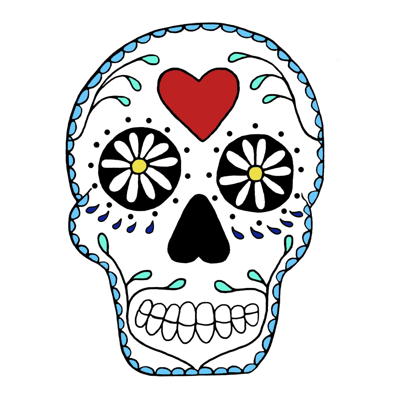 Skull art clipart jpg Simple Sugar Skull Clip Art White Clipart - Free Clipart ... jpg