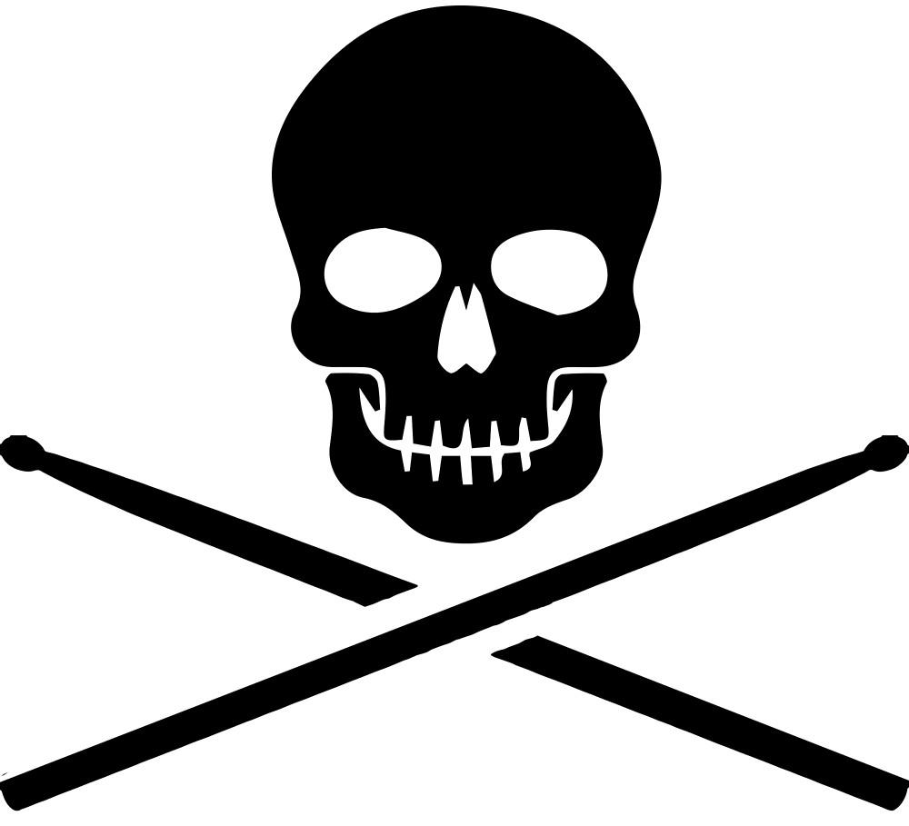Skull drumsticks clipart clip download Skull and Crossbones Jolly Roger Drummer\