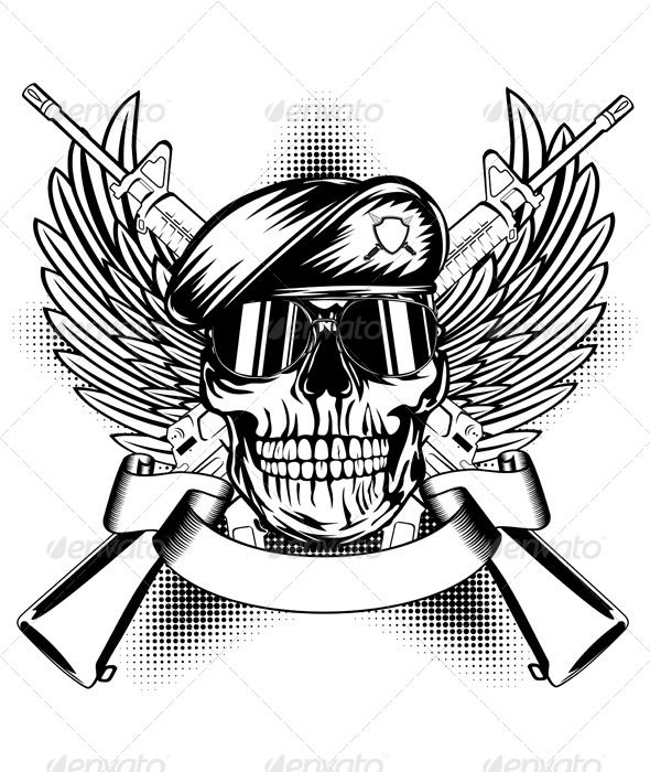 Skull face with guns clipart vector free stock Skull in Beret and Two Automatic Guns - Vectors | Logos ... vector free stock