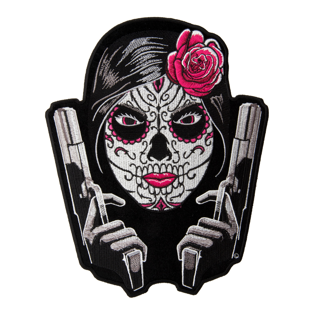 Skull face with guns clipart jpg transparent Day Of The Dead Girl Twin Guns Patch, Sugar Skull Patches jpg transparent
