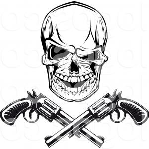 Skull face with guns clipart clip art transparent download Cowboy Skull With Two Guns Vector | SOIDERGI clip art transparent download