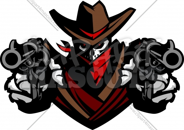 Skull face with guns clipart graphic free download Cowboy Skull Clipart Graphic Vector Logo graphic free download