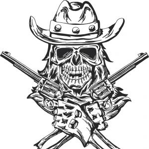 Skull face with guns clipart clip Cowboy Skull With Two Guns Vector | SOIDERGI clip