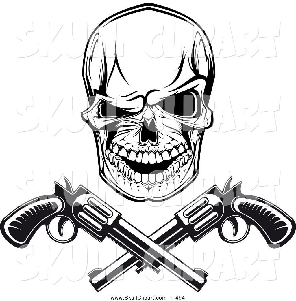 Skull face with guns clipart svg library stock Gangster Skull Drawings | Skull Drawings in 2019 | Skull ... svg library stock