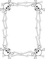 Skull frame clipart png free library skull and bones border paper printable | Halloween /Day of ... png free library