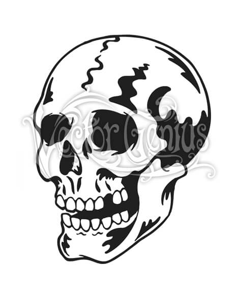Skull tattoo clipart graphic black and white library Classic Skull Tattoo Skeleton ClipArt graphic black and white library
