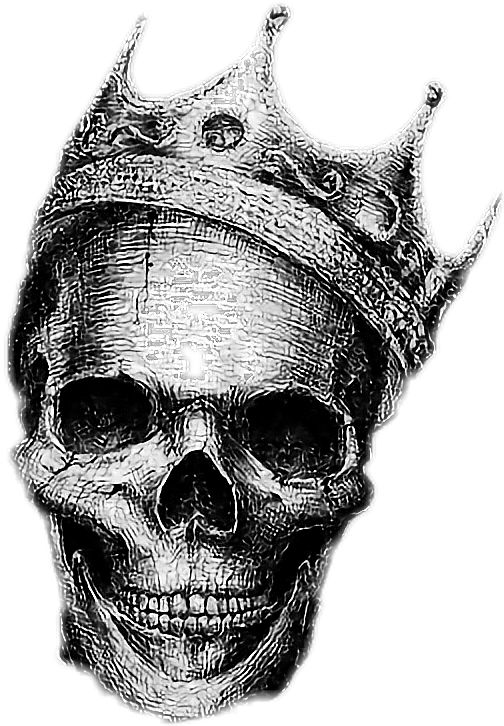 Skull with a king crown clipart png library library skull crown king sketch blackandwhite... png library library