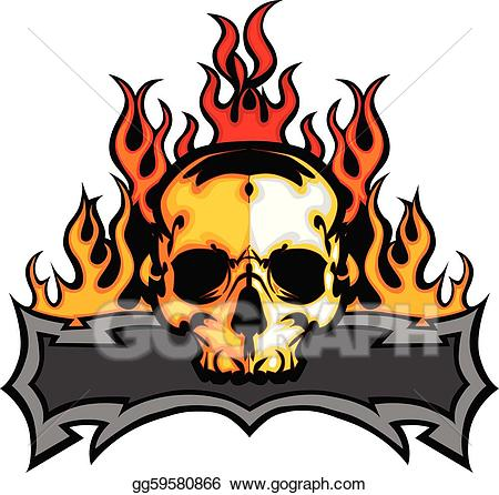 Skull with flames clipart transparent Vector Art - Skull template with flames vector i. Clipart ... transparent