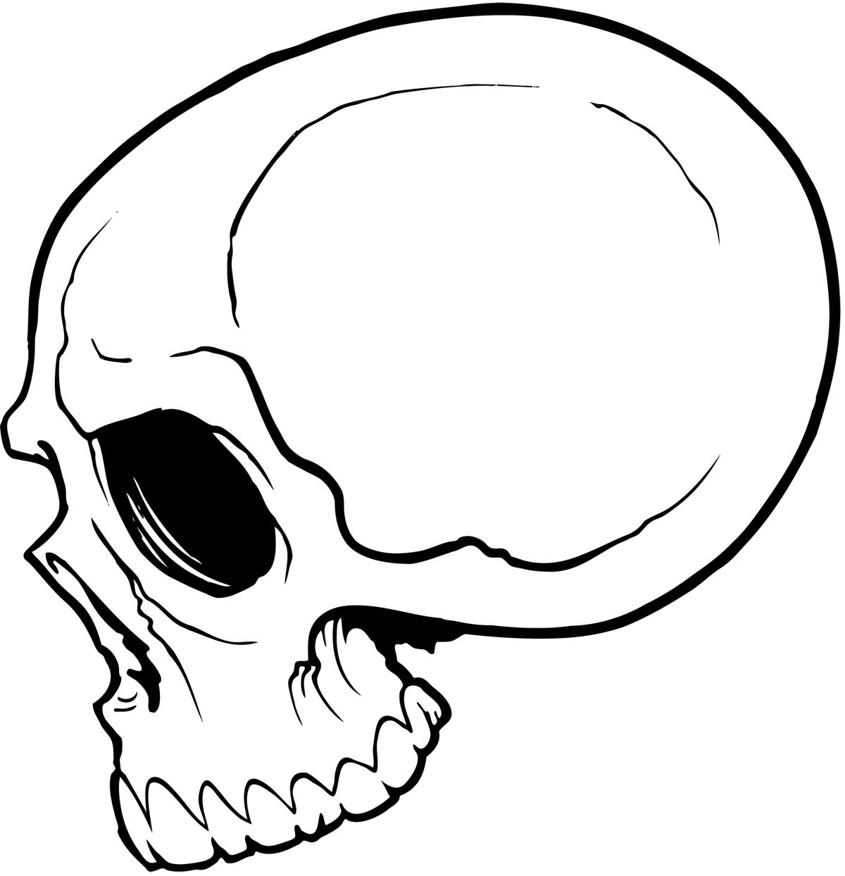 Skull with flames clipart side view