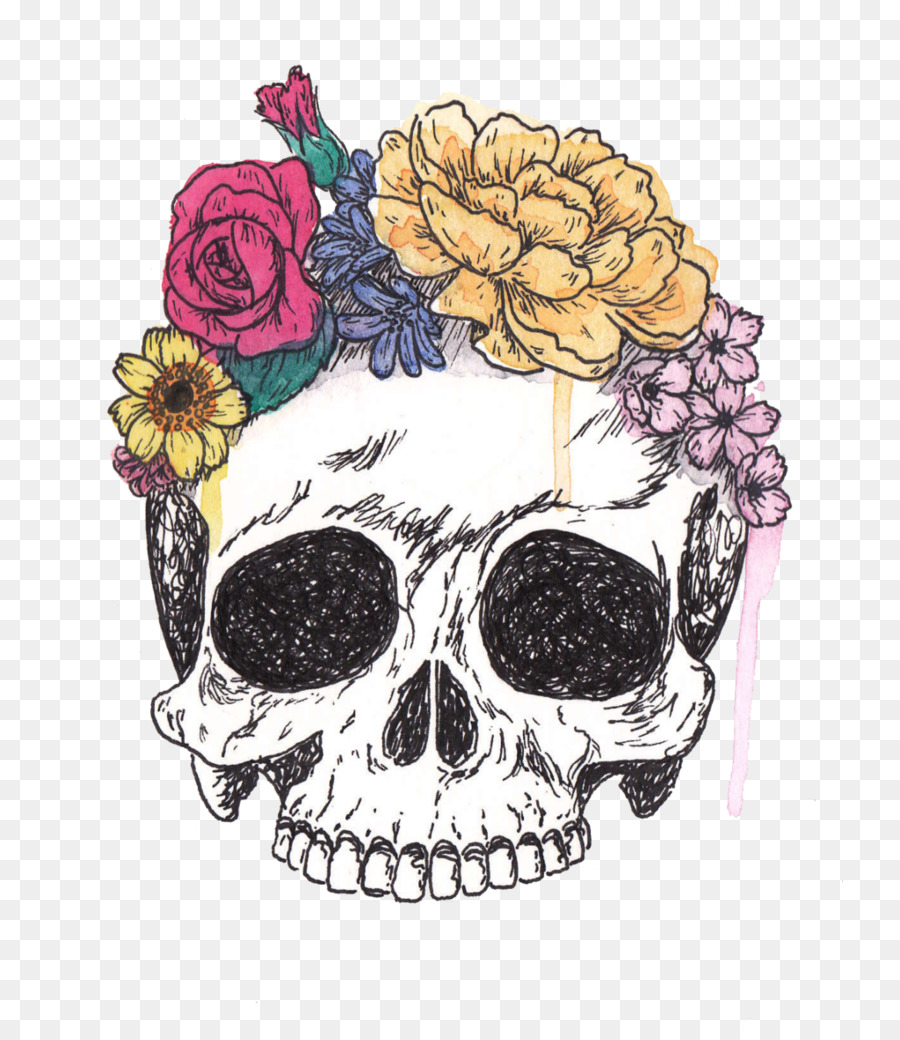 Skull with flowers clipart vector transparent library Floral Flower Background clipart - Skull, Drawing, Flower ... vector transparent library