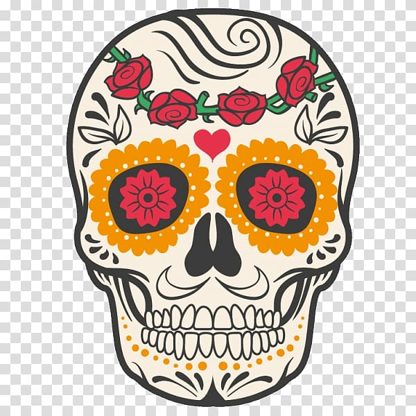 Skull with flowers clipart jpg transparent library Red flowers and kalabera illustration, Calavera Mexican ... jpg transparent library