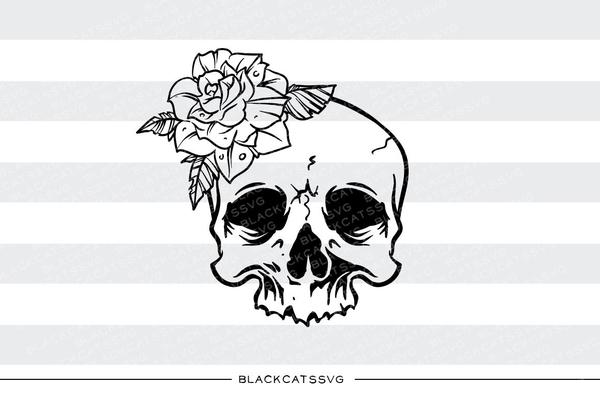 Skull with flowers clipart png royalty free Skull and rose - SVG file Cutting File Clipart in Svg, Eps, Dxf, Png for  Cricut & Silhouette - tattoo style svg png royalty free