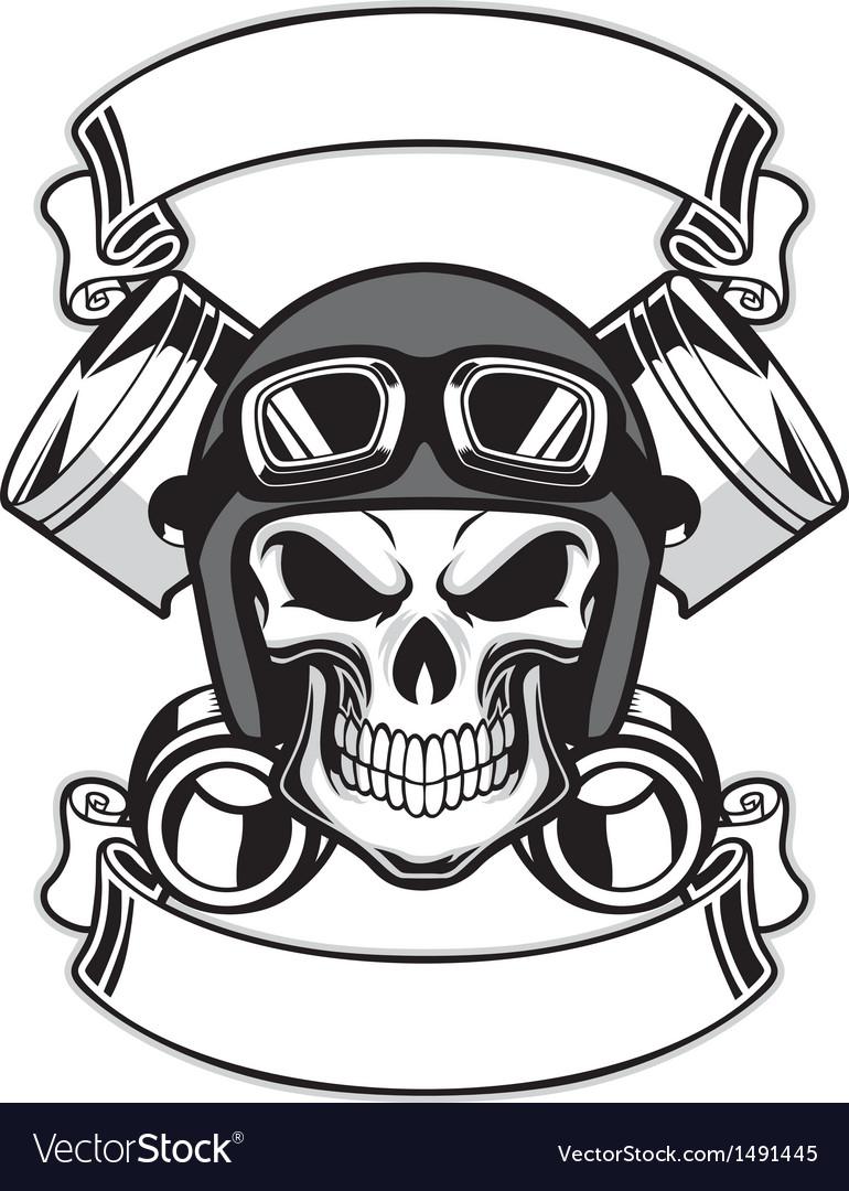 Skull with helmet clipart svg free stock Skull wearing retro motorbike helmet svg free stock