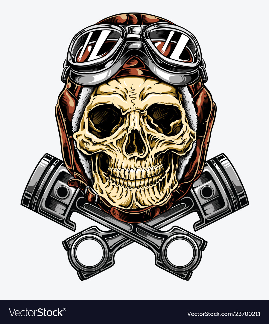 Skull with helmet clipart graphic freeuse download Motorcycle skull with helmet and goggles graphic freeuse download