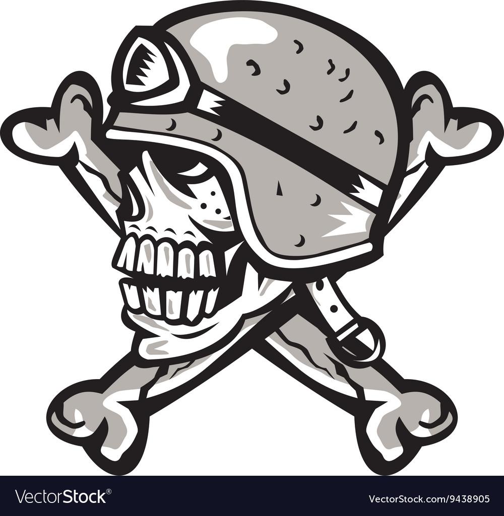 Skull with helmet clipart jpg free Skull Bones Bike Helmet Side Retro jpg free