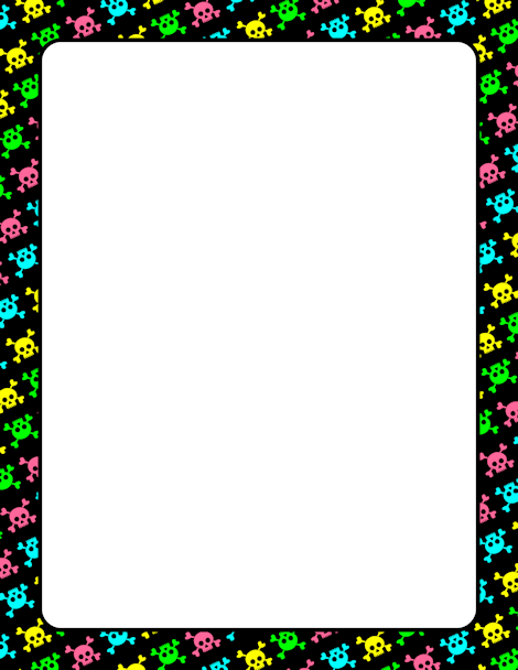 Skulls and hearts square border clipart black and white picture free library Pin by Muse Printables on Page Borders and Border Clip Art ... picture free library