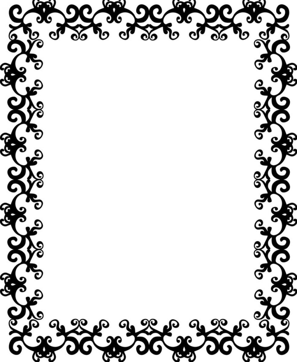 Skulls and hearts square border clipart black and white vector library stock 13 Free Black Border Designs Images - Simple Black Borders ... vector library stock