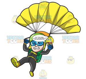 Sky diver clipart graphic black and white library A Scared Male Skydiver graphic black and white library