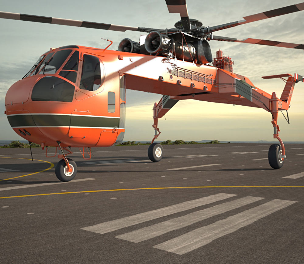 Skycrane clipart clip Sikorsky S-64 Skycrane 3D model clip