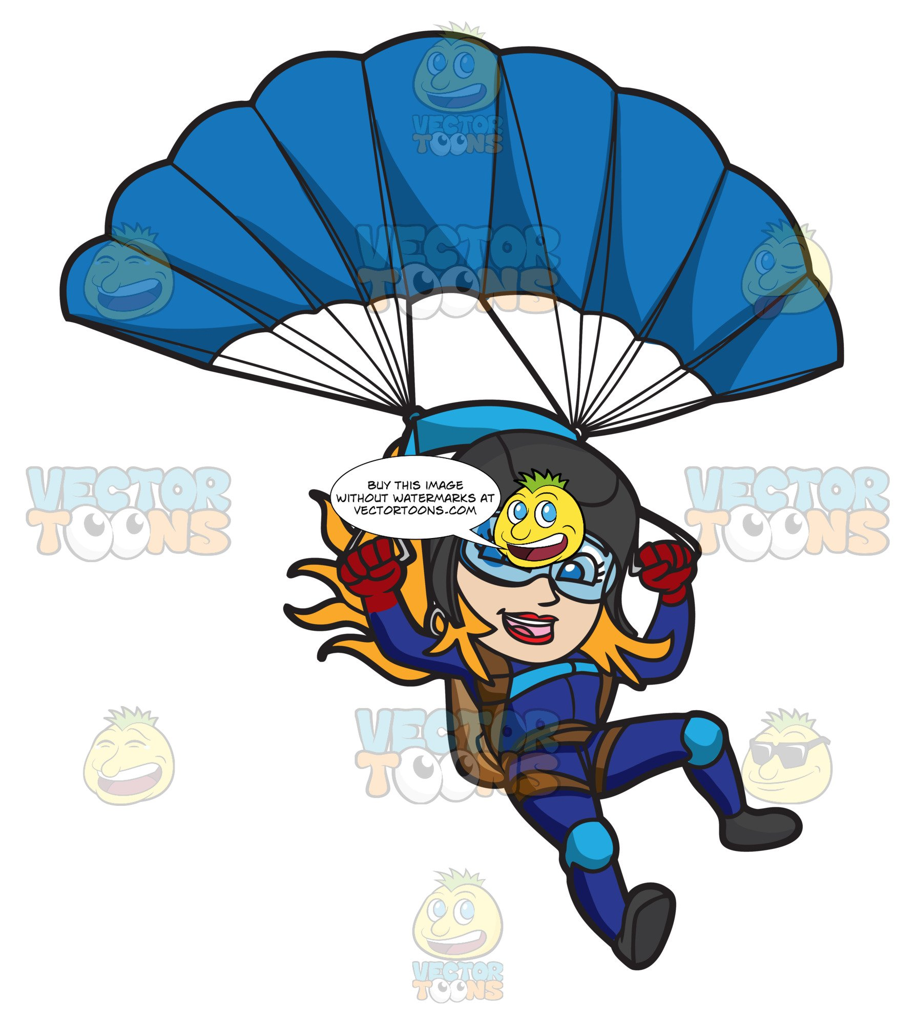 Skydiving cartoon clipart freeuse library A Female Skydiver Landing With Her Parachute freeuse library