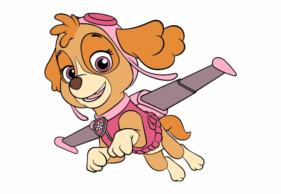 Skye paw patrol with paw prints clipart clip art black and white Clip Art Cartoon Rubble Skye Zuma About - Skye Paw Patrol ... clip art black and white