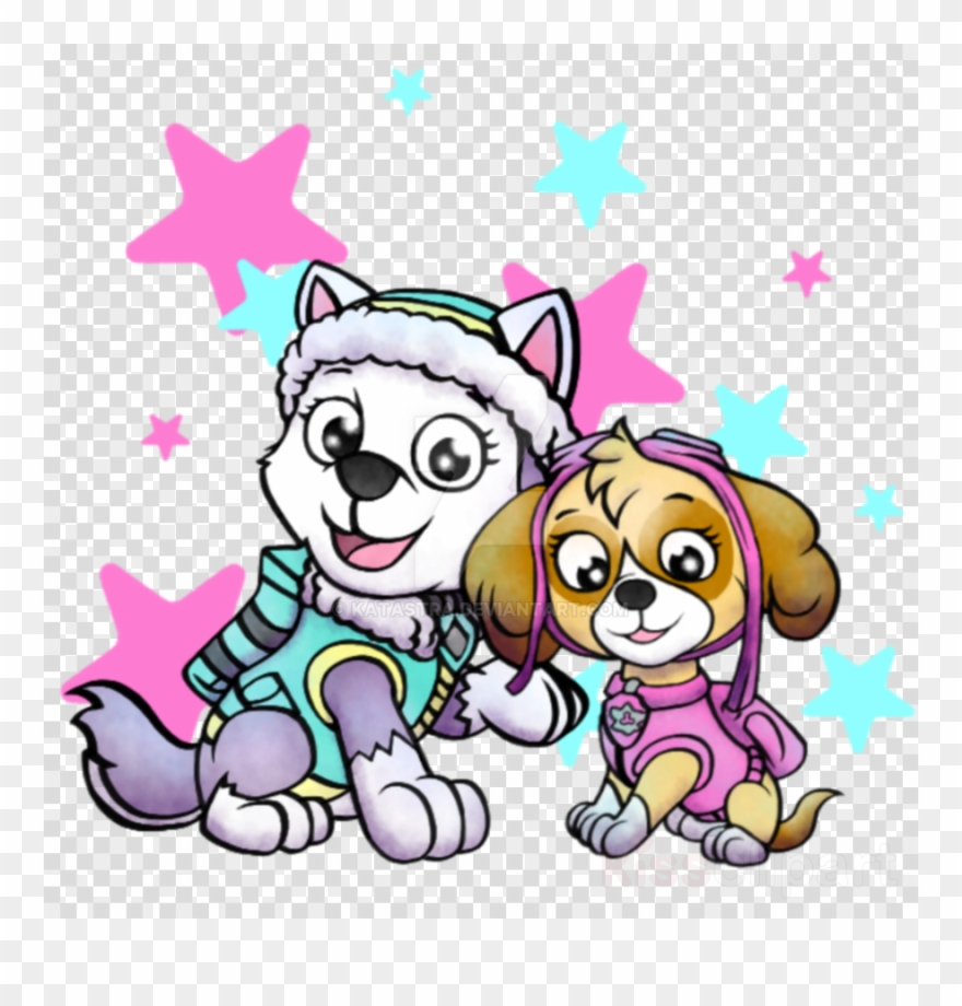 Skye paw patrol with paw prints clipart graphic black and white library Download Paw Patrol Girls Clip Art Clipart Puppy Decorative ... graphic black and white library