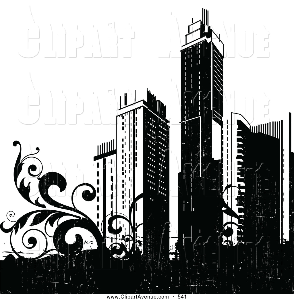 Skyscraper clipart on a white background clip freeuse library Avenue Clipart of a Group of Tall Black City Skyscrapers and ... clip freeuse library