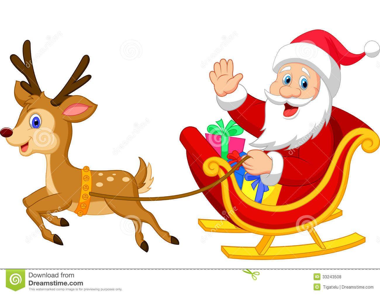 Sled santa clipart clipart stock Cartoon Santa Drives His Sleigh Stock Vector - Image ... clipart stock