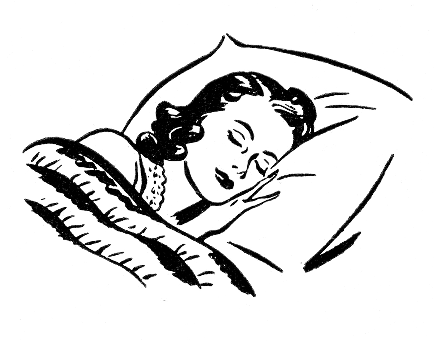 Sleep black and white clipart vector black and white download Retro Images - Sleeping - The Graphics Fairy vector black and white download
