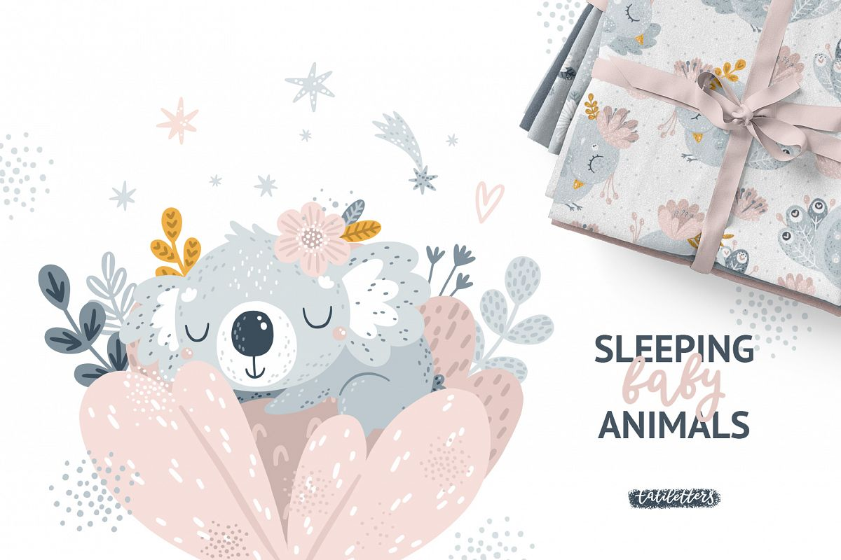 Sleeping baby animals clipart image library download Sleeping Baby Animals Clipart and Patterns image library download