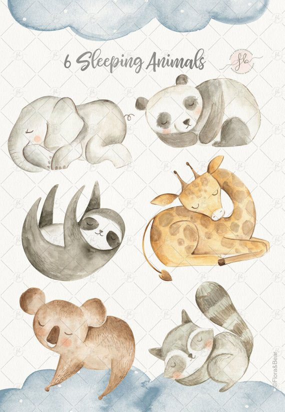 Sleeping baby animals clipart vector black and white Baby Animals Watercolor Clipart Digital Download Nursery Art ... vector black and white